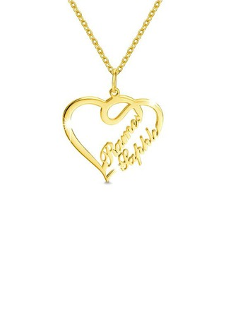 Personnalisé Plaqué en or 18 carats Deux Collier prénom Collier coeur - Cadeaux Saint Valentin