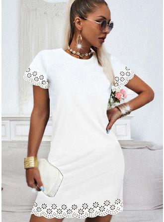 Solid Shift Short Sleeves Mini Casual Dresses