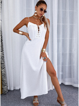 Solid Lace-up A-line Sleeveless Maxi Elegant Skater Type Dresses
