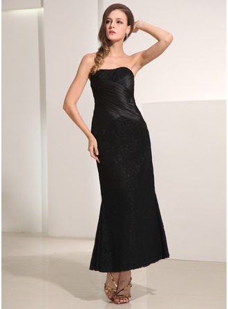 Sheath/Column Sweetheart Ankle-Length Lace Holiday Dress With Ruffle
