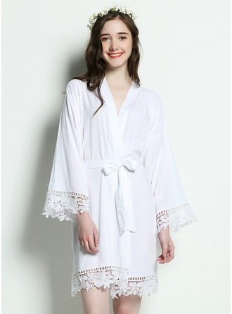 Bruid Bruidsmeisje Katoen met Knie-Lengte Kimono gewaden