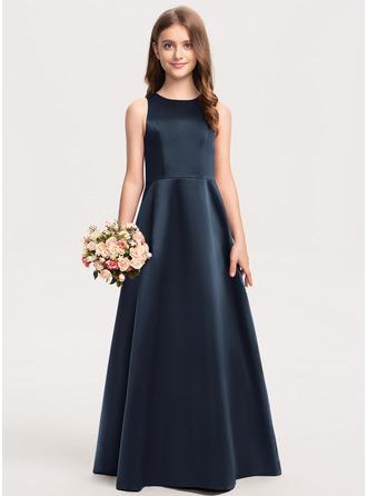 A-Line Scoop Neck Floor-Length Satin Junior Bridesmaid Dress