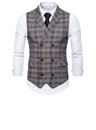 Plaid linnen Heren vest