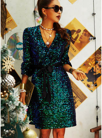 Sequins Sheath Long Sleeves Mini Party Dresses