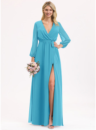A-Line V-neck Floor-Length Chiffon Bridesmaid Dress With Ruffle Bow(s) Split Front