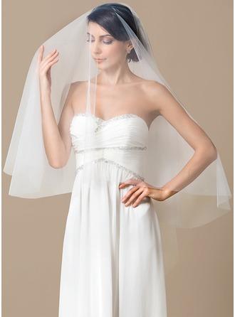 Einschichtig Walzer Braut Schleier mit Schnittkante
