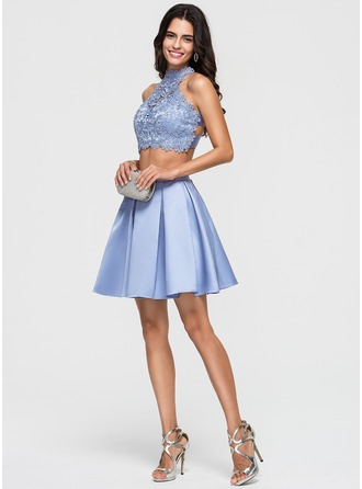 A-Line/Princess Scoop Neck Short/Mini Satin Homecoming Dress With Beading
