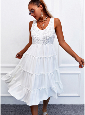 Lace Solid A-line Sleeveless Midi Casual Skater Dresses