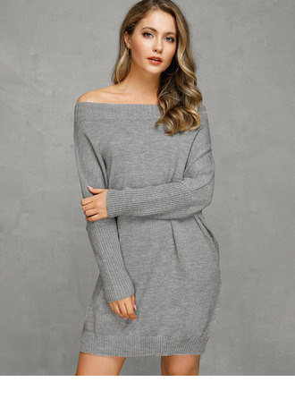 Off the Shoulder Polyester Long Sleeves Solid/Chunky knit/Cable-knit Sweater Dress Fashion Dresses
