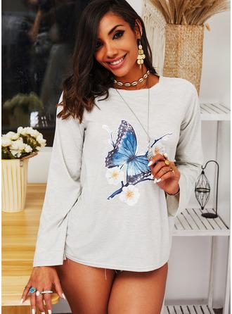 Animal Print Floral Round Neck Long Sleeves Sweatshirt