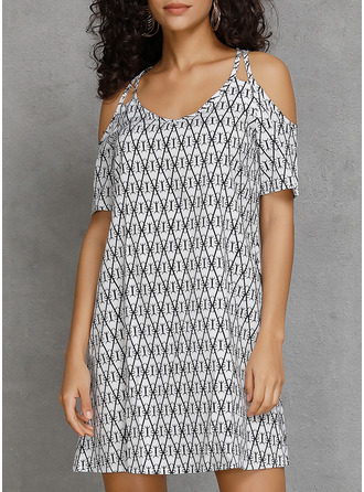 Geometric Print A-line Cold Shoulder Sleeve Mini Casual Vacation Dresses