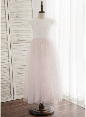 A-Line/Princess Ankle-length Flower Girl Dress - Tulle/Lace Sleeveless Scoop Neck