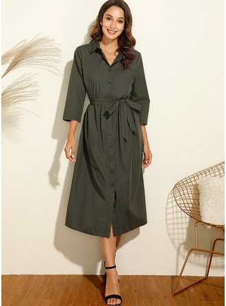 Solid A-line Long Sleeves Midi Casual Shirt Dresses