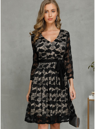 Lace Solid A-line 1/2 Sleeves Midi Casual Elegant Skater Dresses