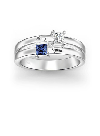 Sterling Silver Cubic Zirconia Brithstone Exquisite Princess Cut Promise Rings Custom Rings -