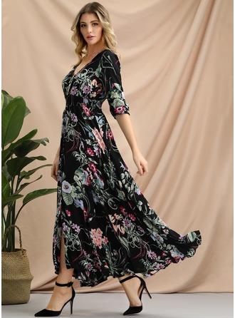 Трапеция V-образный Длина по щиколотку Вечерние Платье