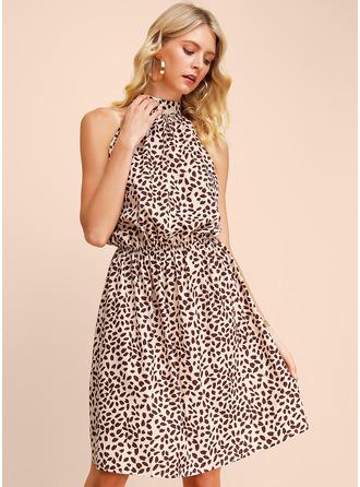 印刷 Aラインワンピース ノースリーブ ミニ カジュアル ファッションドレス