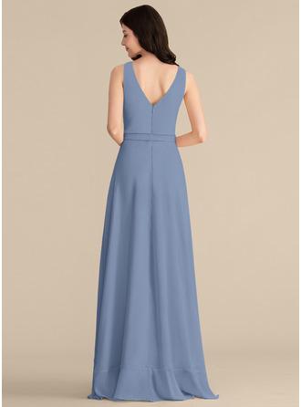 Cuello en V Champán Gasa Vestidos de moda