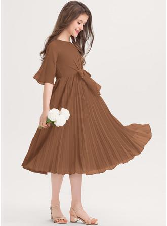 A-linjainen Pyöreä kaula-aukko Polvipituinen Sifonki Nuorten morsiusneito mekko jossa Rusetti Laskostettu
