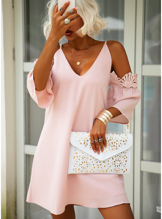 Lace Solid Shift 3/4 Sleeves Cold Shoulder Sleeve Mini Casual Elegant Tunic Dresses