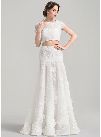 Corte A/Princesa Escote redondo Barrer/Cepillo tren Tul Encaje Vestido de novia con Los appliques Encaje