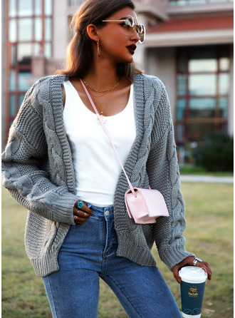 Casual Solid Cable-knit Sweaters