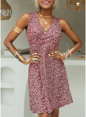 Print A-line Sleeveless Midi Casual Vacation Skater Wrap Dresses