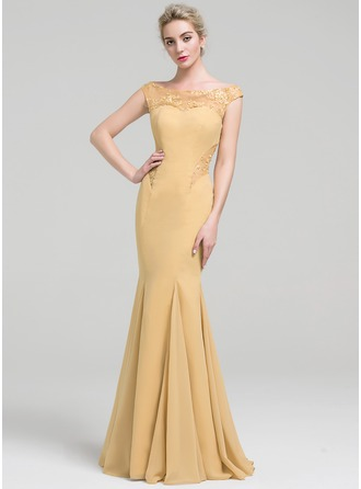 Trumpet/Mermaid Off-the-Shoulder Floor-Length Chiffon Prom Dress With Lace Beading Sequins