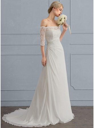 Sheath/Column Off-the-Shoulder Sweep Train Chiffon Wedding Dress With Ruffle