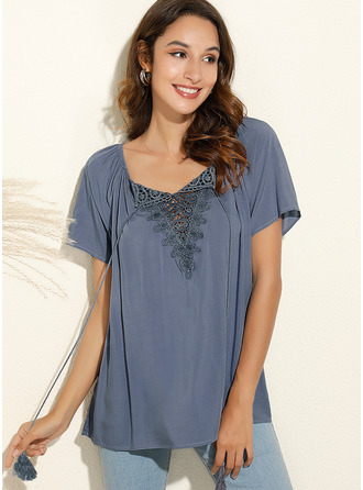 Lace Solid V-Neck Short Sleeves Casual