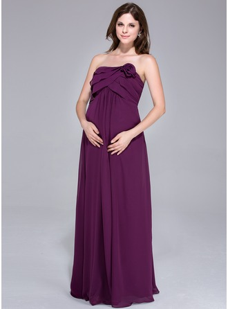 Empire Strapless Floor-Length Chiffon Chiffon Maternity Bridesmaid Dress With Flower(s) Cascading Ruffles