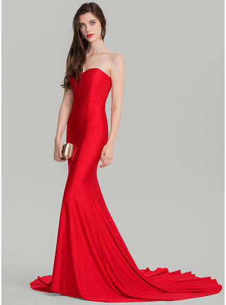Trumpet/Mermaid Sweetheart Court Train Jersey Evening Dress
