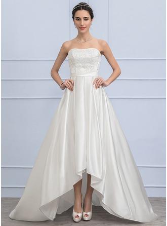 Corte A/Princesa Novio Asimétrico Satén Encaje Vestido de novia