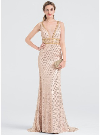 Sheath/Column V-neck Sweep Train Charmeuse Prom Dresses With Beading Sequins