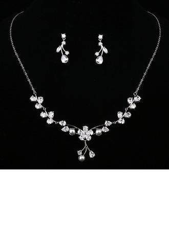 Elegante Cobre/Zircon/Falso pérola Senhoras Conjuntos de jóias