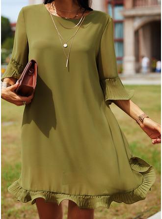 Solid Shift 3/4 Sleeves Flare Sleeve Mini Casual Elegant Tunic Dresses