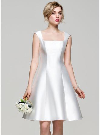 Трапеция квадратный вырез Длина до колен Атлас Платье Подружки Невесты