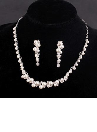 Romântico Liga/Strass/Falso pérola com Strass/Falso pérola Senhoras Conjuntos de jóias