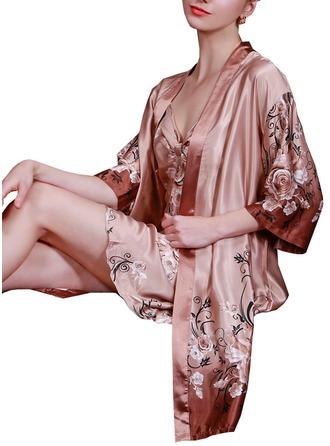 Brud Brudepike Silke med Te-lengde Blomsterklær