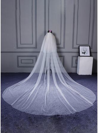 Een-rij Gesneden Rand Kathedraal Bruids Sluiers