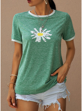 Print Floral Short Sleeves Cotton Polyester Round Neck T-shirt Blouses