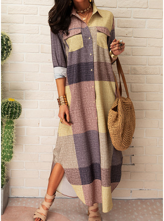 Plaid Shift Long Sleeves Maxi Casual Shirt Dresses