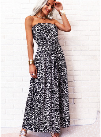Leopard A-line Sleeveless Maxi Casual Skater Dresses