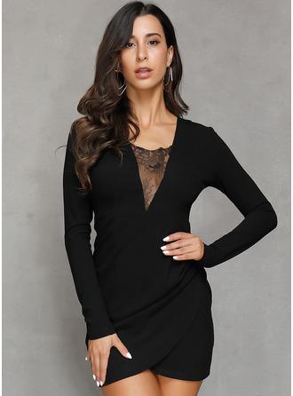 Lace Solid Sheath Long Sleeves Mini Little Black Elegant Dresses