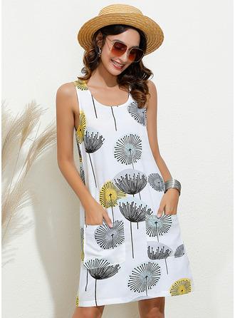 Above Knee U Neck Polyester/Cotton Print Sleeveless Fashion Dresses