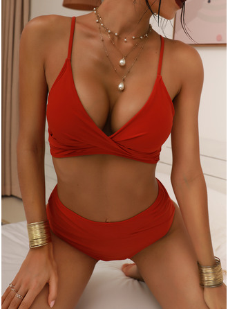 Bikinis Polyester Solid Color High Waist Yes Sexy Plus Size Swimwear