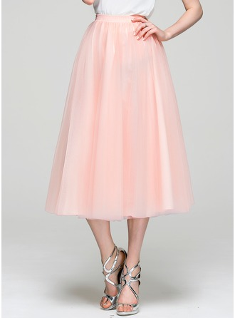 A-Line/Princess Tea-Length Tulle Cocktail Dress