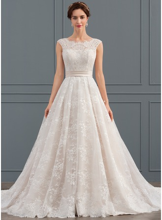 Ball-Gown Scoop Neck Chapel Train Lace Wedding Dress With Ruffle