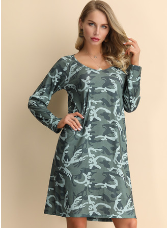Print Shift Long Sleeves Midi Boho Casual Tunic Dresses