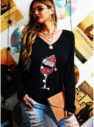Print V-Neck Long Sleeves Christmas T-shirt